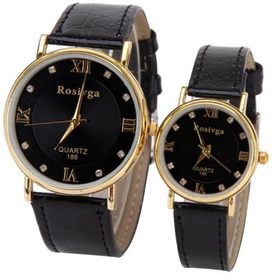 Valentine Rosivga Couple Watch with Round Dial Leather Watch Band