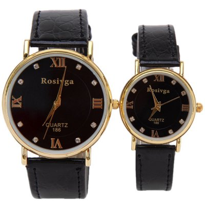 Гаджет   Valentine Rosivga Couple Watch with Round Dial Leather Watch Band Watches