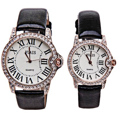 Гаджет   Luxury Watches with Diamonds Round Dial and Genuine Leather Band for Couple Watches