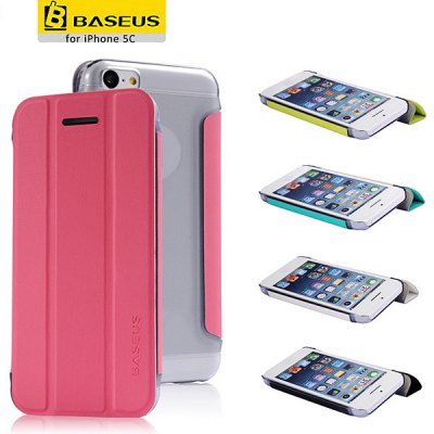 Baseus Fashion Folio Supporting Style PC + PU Leather Case for iPhone 5C