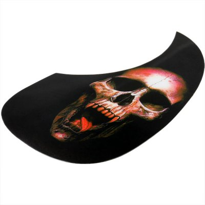 MI-046 Practical Black Comma Shape Self-sticking Anti-Scratch Pickguard for Acoustic Guitar with Red Skull Head Design