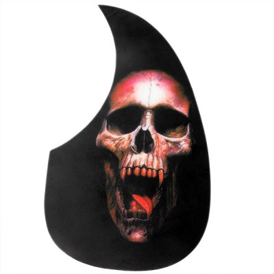 Black Comma Shape  Acoustic Guitar Pickguard with Red Skull Head Design
