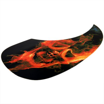 MI-048 Practical Black Comma Shape Self-sticking Anti-Scratch Pickguard for Acoustic Guitar with Flame Skull Head Design