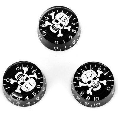 KB-16 3PCS Practical Speed Control Knobs for Guitar with White Skull Head Design