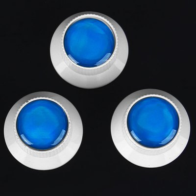 KB-54 3PCS Top Hat Style Professional Silver Control Knobs for Electric Guitar with Blue Resin Head