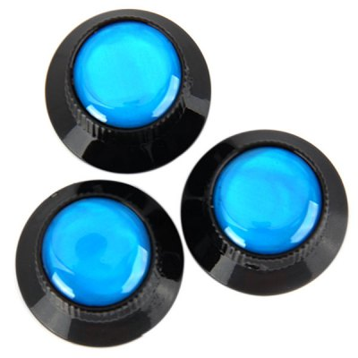 KB-51 3PCS Top Hat Style Professional Black Control Knobs for Electric Guitar with Blue Resin Head