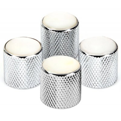 4PCS Guitar Dome Knobs - Chrome with Pearl White Top