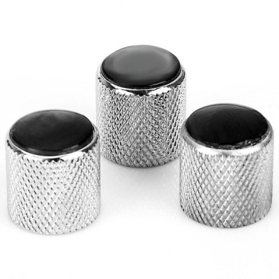 3PCS Guitar Dome Knobs - Chrome with Pearl Black Top