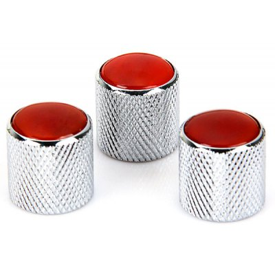 KB-38 3PCS Professional Control Knobs for Electric Guitar with Red Gemstone (Chrome)