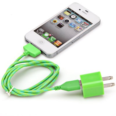 Portable USB Power Charger + 1M Nylon Fabric Braided USB 30 Pin Cable for iPhone 4 / 4SiPhone Cables &amp; Adapters<br>Portable USB Power Charger + 1M Nylon Fabric Braided USB 30 Pin Cable for iPhone 4 / 4S<br><br>Compatibility: iPhone 4,iPhone 4S<br>Type: Adapters,Cable<br>Interface Type: 30 pin<br>Cable Length (cm): 100 cm<br>Input: 100-240V 50/60Hz 0.15A<br>Output: 5V 1A<br>Plug: US plug<br>Package weight: 0.080 KG<br>Package size (L x W x H): 9.00 x 4.00 x 3.00 cm / 3.54 x 1.57 x 1.18 inches<br>Package Contents: 1 x US Standard USB Charger Adapter, 1 x USB Cable