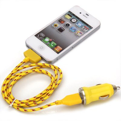 Portable USB Car Charger + 1M Nylon Fabric Braided USB 30 Pin Cable for iPhone 4 / 4SiPhone Cables &amp; Adapters<br>Portable USB Car Charger + 1M Nylon Fabric Braided USB 30 Pin Cable for iPhone 4 / 4S<br><br>Compatibility: iPhone 4,iPhone 4S<br>Type: Cable,Car Chargers<br>Interface Type: 30 pin<br>Cable Length (cm): 100 cm<br>Input: 12-24V<br>Output: 5V 1A<br>Package weight: 0.080 KG<br>Package size (L x W x H): 14.00 x 9.00 x 2.00 cm / 5.51 x 3.54 x 0.79 inches<br>Package Contents: 1 x USB Cable, 1 x Car Charger