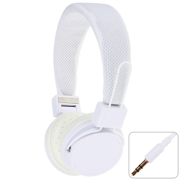 EX09i Folding White Headphones with Wired Control In - coming Phone Call Function