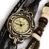 best IELY Quartz Watch with 12 Numbers Indicate Leather Watch Band for Women - Black