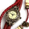 best IELY Quartz Watch with 12 Numbers Indicate Leather Watch Band for Women - Red