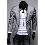 Buy Fashion Slimming Stand Collar Color Block Splicing Long Sleeves Polyester Blazer Men 2XL
