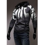 Buy Fashionable Casual Style Letters Print Design Slimming Hooded Coat Men XL