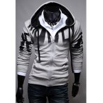 Buy Fashionable Casual Style Letters Print Design Slimming Hooded Coat Men L