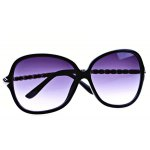 Elegant Sunglasses with Acetate and Metal Material Frame PC Lens for Women - Black Frame photo