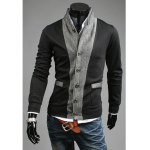 Buy Fashion Stand Collar Fabric Splicing Long Sleeves Cotton Blend Business Coat Men M