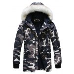 Buy Fashion Style Faux Fur Embellished Hooded Zipper Design Long Sleeves Men's Camouflage Coat XL