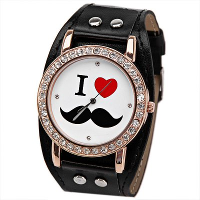 Heart and Mustache Pattern Watch for Women