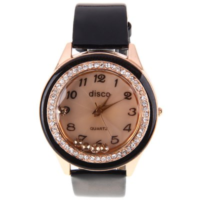 Гаджет   Disco Quartz Watch with 12 Arabic Numbers Indicate Leather Watch Band for Women - Black Women