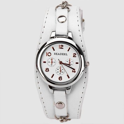 Гаджет   Cute Quartz Watch with Arabic Numbers Indicate Leather Watch Band for Women Women