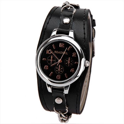 6 Arabic Numbers Lether Band Watch for Women