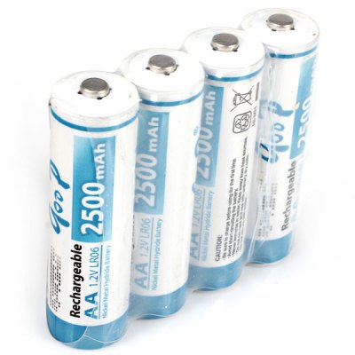 Low Carbon and Environment Friendly GOOP LR06 AA 1.2V 2500mAh Ni-MH Rechargeable Battery - 4Pcs