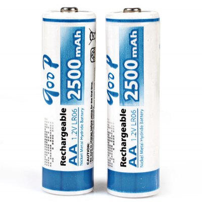Гаджет   Low Carbon and Environment Friendly GOOP LR06 AA 1.2V 2500mAh Ni-MH Rechargeable Battery - 2Pcs