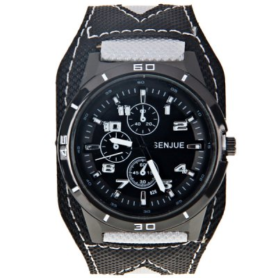 Гаджет   Senjue Men Watch with Round Dial Cloth Leather Watchband Men
