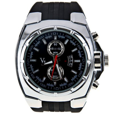 Гаджет   V6 Men Watch with Trapezoids Hour Marks Round Dial Silicon Watch Band Men