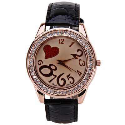 Гаджет   Gerryda Quartz Watch with 11 Numbers and Heart Shape Indicate Leather Watch Band for Women - Black Women