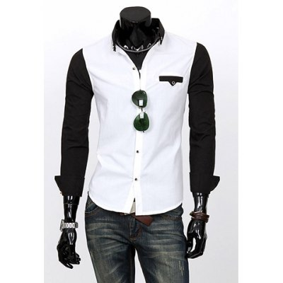 Korean Style Color Block Shirt Collar Chic Buttons Embellished Long Sleeves Men's Polyester Shirt