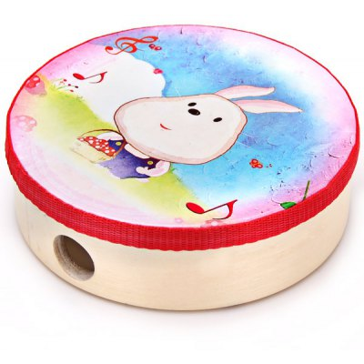 Гаджет   Cute Dollface Bunny 6 Inches Handheld Drum Tabour Wooden Hand - held Drum Tabour Tambourine Musical Toy for Kids