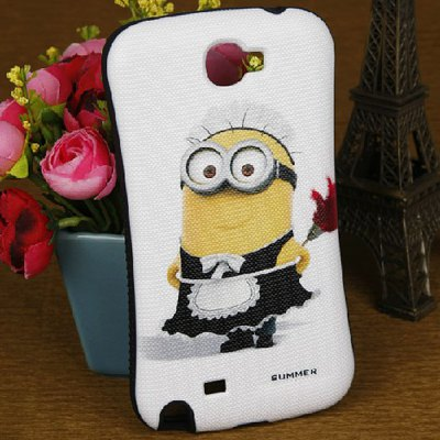 The Minion and Flower Pattern PC and Silicone Case for Samsung Galaxy Note 2 N7100