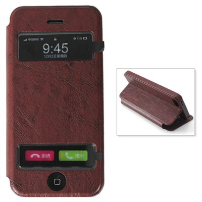 Stylish Phone Call View Window and Dormancy Design Stand Function PU + PC Case Cover for iPhone 5