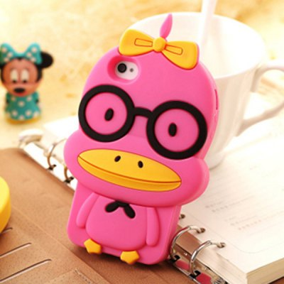 Duck in Glasses Pattern Silicone Case for iPhone 5