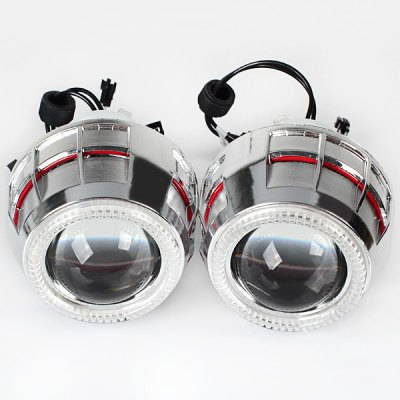 Super Shining Angel Eyes Dual Lights Red and Blue HID 5W 6000K Bi - Xenon Projector Lens Low/High Light Headlamp for Motorcycle