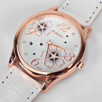 Гаджет   No.99653 Quartz Watch with Numbers and Dots Indicate Leather Watch Band Flower Pattern Dial for Women - Blue Women