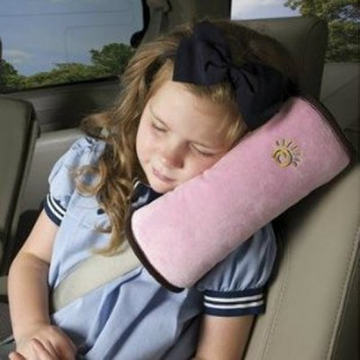 Long Size Soft Plush Car Seat Belt Pad for Kid Safety - Pink