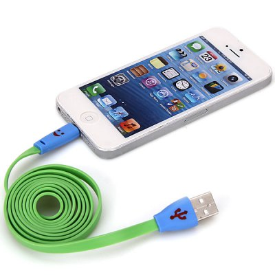 Гаджет   Portable Noodle Style Smiling Face 1M 8 Pin to USB Charger Sync Data Cable for iPhone 5 / 5S / 5C iPhone Cables & Adapters