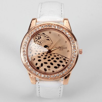 A628 Quartz Watch with 12 Small Diamond Dots Indicate Leather Watch Band Leopard Pattern Dial for Women - White