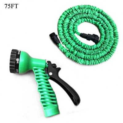 75FT Expandable and Flexible Garden Hose Water Pipe with 7-in-1 Spray Gun - Green
