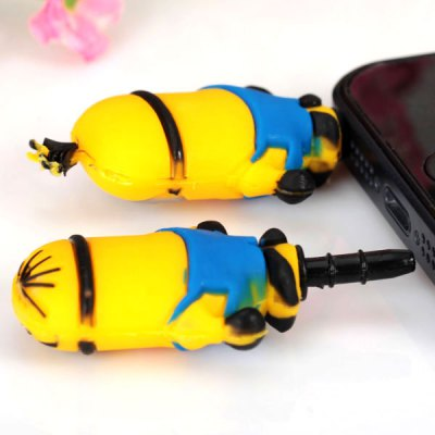 2 x Mini Cartoon Bee-do Style 3.5mm Interface Dustproof Plug ( Yellow with Blue ) for Samsung S6 HTC ONE M9