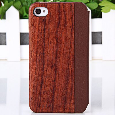 Simple Cherry Style Natural Wood Plastic and PU Leather Shell Case for iPhone 4 / 4S
