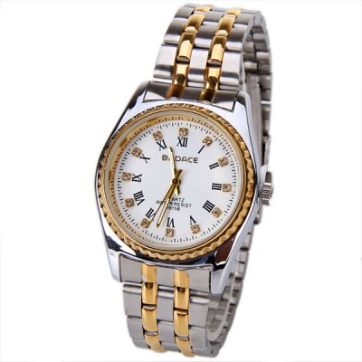 Гаджет   No.9915B Badace Brand Male Watch Time Showed by 12 Creative Diamond Dots and Rome Numbers with Round Dial Silver + Golden Steel Watchband - White Dial Men