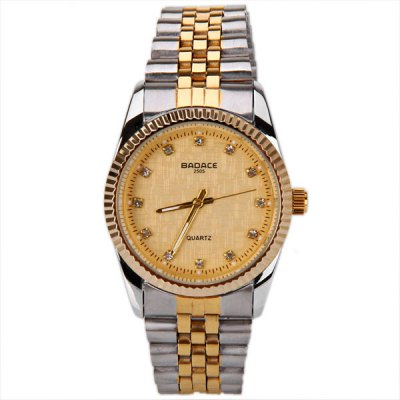 TuHao Waterproof Watch with Diamonds Round Dial and Steel Band for MenMens Watches<br>TuHao Waterproof Watch with Diamonds Round Dial and Steel Band for Men<br><br>Brand: Badace<br>Brand origin: China<br>Watches categories: Male table<br>Watch style: Fashion<br>Style elements: Stainless steel<br>Available color: Gold<br>Movement type: Quartz watch<br>Shape of the dial: Round<br>Display type: Pointer<br>The bottom of the table: Ordinary<br>Watch-head: Ordinary<br>Case material: Stainless steel<br>Case color: Gold<br>Band material: Stainless steel<br>Clasp type: Sheet folding clasp<br>Band color: Silver<br>Special features: Three needles<br>Waterproof: 10 meters<br>The dial thickness: 1 cm<br>The dial diameter: 3 cm<br>Product weight: 0.066 kg<br>Package weight: 0.086 kg<br>Product size (L x W x H): 10 x 3 x 1 cm<br>Package size (L x W x H): 11 x 4 x 2 cm<br>Package Contents: 1 x Watch
