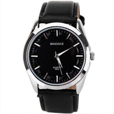 Cheap Waterproof Watches with Round Dial and Leather Band for MenMens Watches<br>Cheap Waterproof Watches with Round Dial and Leather Band for Men<br><br>Brand: Badace<br>Brand origin: China<br>Watches categories: Male table<br>Watch style: Trends in outdoor sports<br>Available color: Black<br>Movement type: Quartz watch<br>Shape of the dial: Round<br>Display type: Pointer<br>The bottom of the table: Ordinary<br>Watch-head: Ordinary<br>Case material: Stainless steel<br>Case color: Silver<br>Band material: Leather<br>Clasp type: Pin buckle<br>Band color: Black<br>Special features: Three needles<br>Waterproof: Life waterproof<br>The dial thickness: 1 cm<br>The dial diameter: 4 cm<br>Product weight: 0.065 kg<br>Package weight: 0.085 kg<br>Product size (L x W x H): 24 x 4 x 1 cm<br>Package size (L x W x H): 25 x 5 x 2 cm<br>Package Contents: 1 x Watch