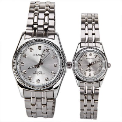 Badace Couple Watch with Quartz Round Dial Steel WatchbandWatches &amp; Jewelry<br>Badace Couple Watch with Quartz Round Dial Steel Watchband<br><br>Brand: Badace<br>Brand origin: China<br>Watches categories: Couple tables<br>Watch style: Fashion<br>Style elements: Stainless steel<br>Color: Silver<br>Shape of the dial: Circular<br>Movement type: Quartz watch<br>Display type: Pointer<br>The bottom of the table: Ordinary<br>Case material: Stainless steel<br>Watch-head: Ordinary<br>Band material: Stainless steel<br>Clasp type: Sheet folding clasp<br>Waterproof: Life waterproof<br>Special features: Three needle<br>Package weight: 0.236 kg<br>Package size (L x W x H): 12 x 8 x 3 cm<br>The male dial dimension (L x W x H): 3 x 3 x 1 cm<br>The male watch band dimension (L x W): 10 x 2 cm<br>The male watch weight: 0.092 kg<br>The male watch size (L x W x H): 11 x 3 x 1 cm<br>The female dial dimension (L x W x H): 2 x 2 x 0.8 cm<br>The female watch band dimension (L x W): 8 x 1 cm<br>The female watch weight: 0.062 kg<br>The female size (L x W x H): 10.5 x 2 x 0.8 cm<br>Package contents: 2 x Watch